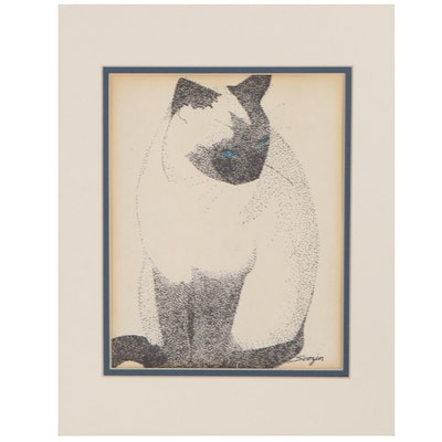 Stippled Ink Drawing of Siamese Cat, Late 20th Century