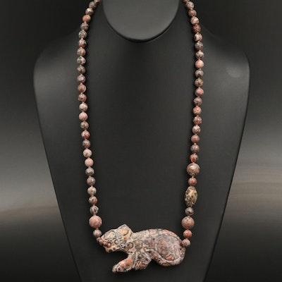 Carved Jasper Feline Pendant Necklace