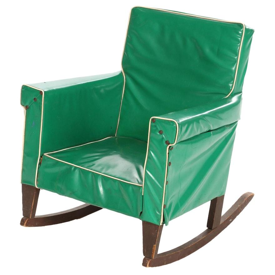 Children's Green Vinyl-Upholstered Rocking Chair, Mid-20th Century