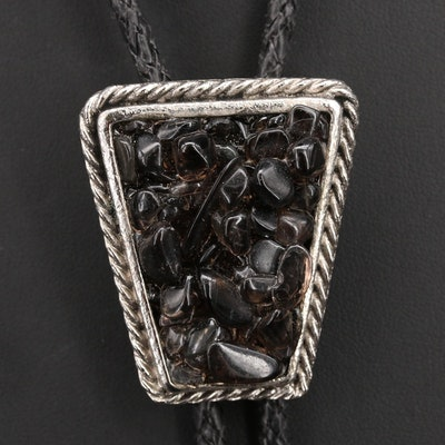 Vintage Southwestern Style Obsidian Bolo Tie