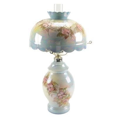 Lustreware Dogwood Blossom Motif Ceramic Table Lamp and Shade with Hurricane
