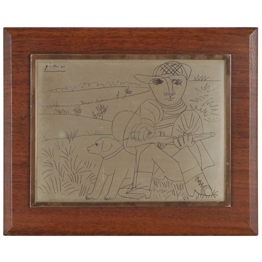 Engraved Metal Plaque After Pablo Picasso
