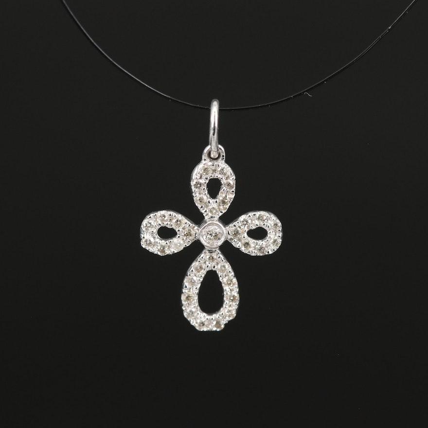 14K Diamond Loop Cross Pendant