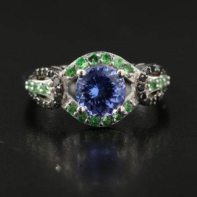 Sterling Silver Tanzanite, Tsavorite and Black Diamond Ring