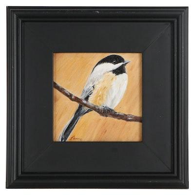 "Sanna Acrylic Painting ""Golden Chickadee,"" 2013"