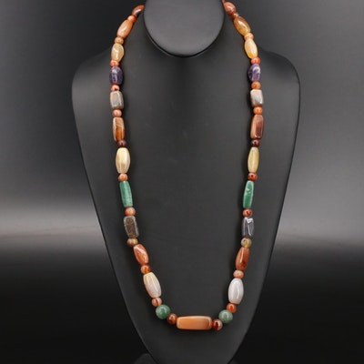 Gemstone Beaded Necklace Featuring Agate, Aventurine and Amethyst