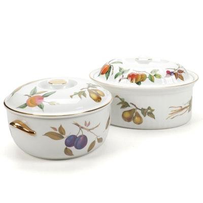 """Royal Worcester """"Evesham Gold"""" Porcelain Lidded Casserole Dishes"""