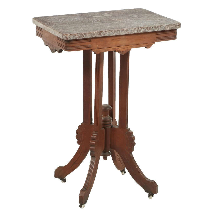 Victorian Eastlake Style Walnut and Marble Top Side Table, Late 19th Century