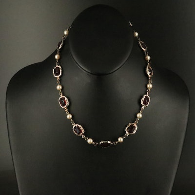 Faux Pearl and Glass Dauplaise Necklace