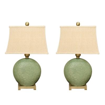 "Uttermost ""Destin"" Disc-Shaped Green Ceramic Table Lamps, Pair"