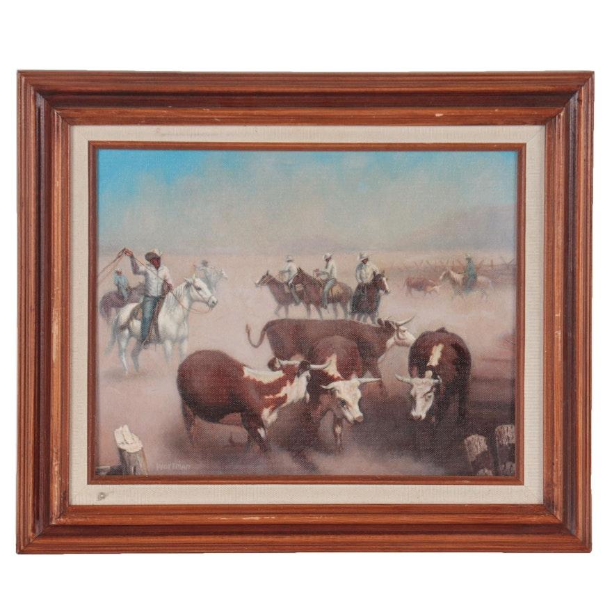 Robert Wortman Western Genre Oil Painting of Ranch Scene