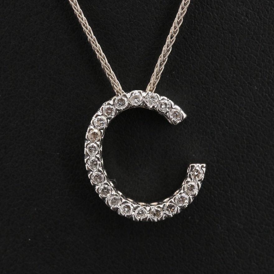 "14K Diamond ""C"" Pendant Necklace"