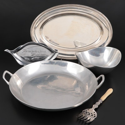 Christofle Tray with Other Silver Plate Serveware and Victorian Fish Fork