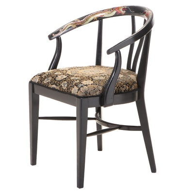 Ebonized, Chinoiserie-Decorated, and Custom-Upholstered Armchair, 20th Century