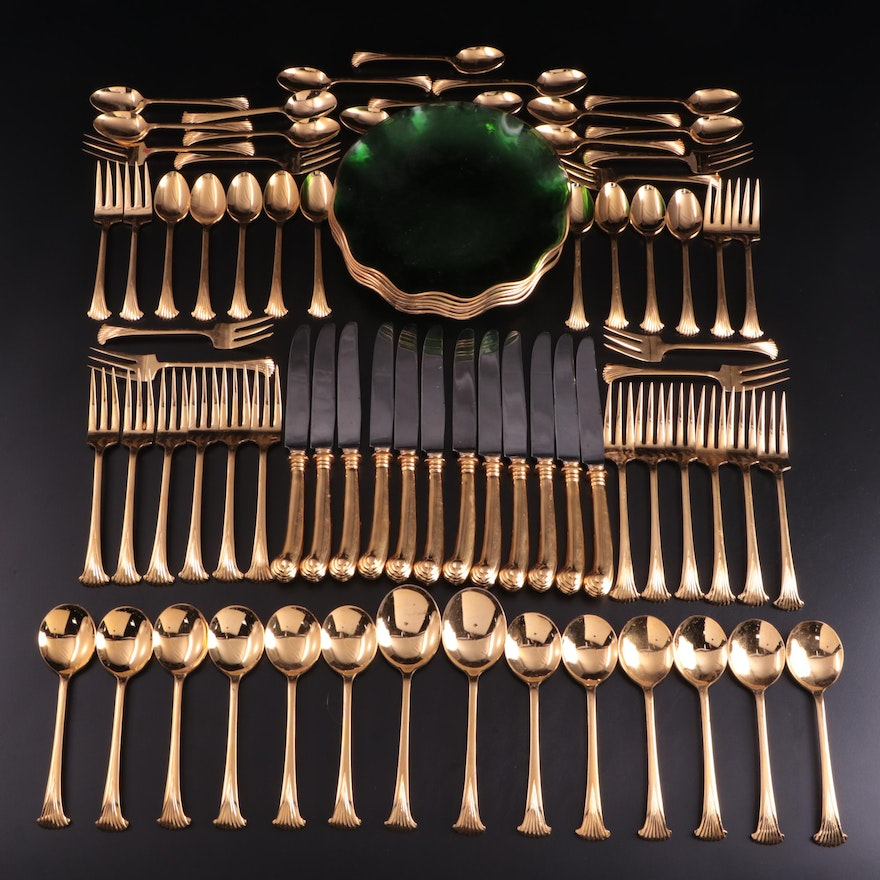 Gold Electroplate Flatware and Green Glass Plates, Late 20th Century