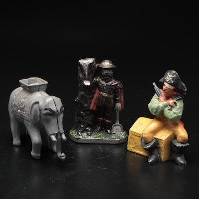 Vintage Cast Metal Coin Banks, Including Elephant and Pirate Forms