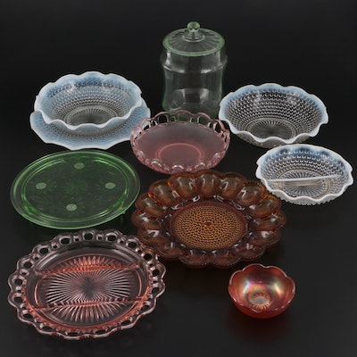 """Anchor Hocking """"Moonstone Clear"""" Serveware with Other Colored Glass Serveware"""