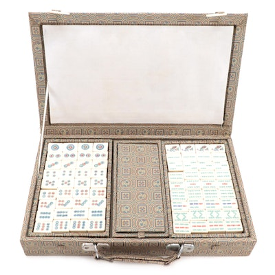 Mahjong Pai Game Set with Bone and Bamboo Tiles, Mid to Late 20th Century