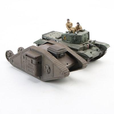 "Ferrosteel ""Tank Savings"" Cast Iron Bank and Frontline Figures Cromwell Tank"