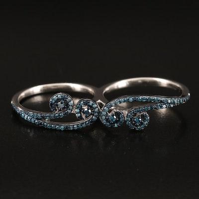 Sterilng Diamond Two Finger Ring