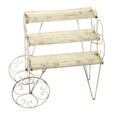 Victorian Style Wire Painted Metal Patio Plant Stand Cart