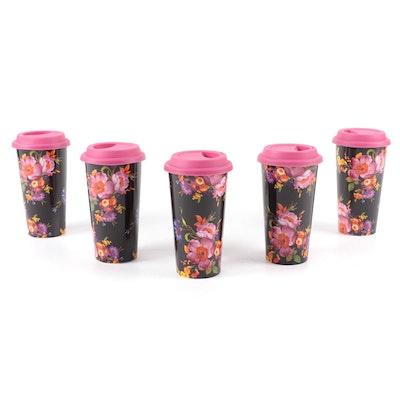 """MacKenzie-Childs """"Black Flower Market"""" Travel Cups"""