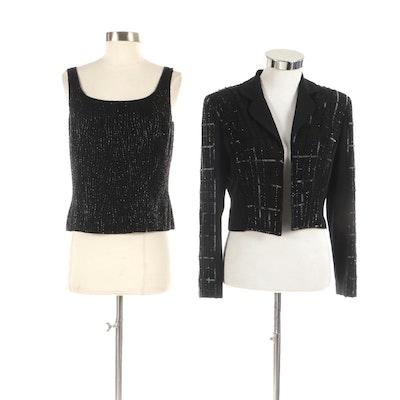 Bob Mackie Boutique Beaded Black Jacket and Shell