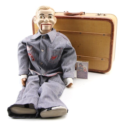 Ventriloquist Dummy with Travelling Case and Patty Davidson Training Tape