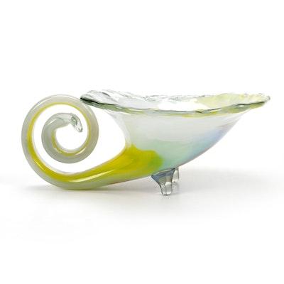 Blown Art Glass Cornucopia Centerpiece Bowl, Late 20th Century