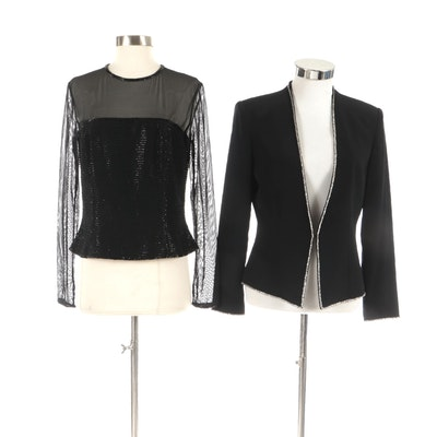 Bob Mackie Boutique Jacket and Black Tie Oleg Cassini Beaded Blouse