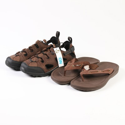 Men's Lands' End Espresso Newsome Boat Flip-Flops and Leather Beach Trekkers