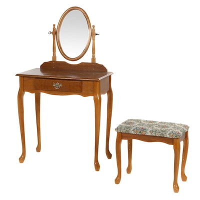 Queen Anne Style Oak Vanity Table and Bench, Late 20th Century