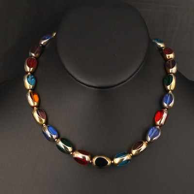 Multicolored Glass Link Necklace
