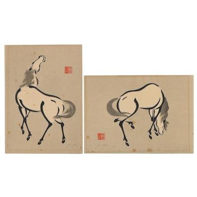 "Yoshijirō Urushibara Woodblocks ""Horse (A)"" and ""Horse (C)"""