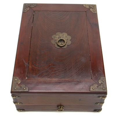 Rosewood Box with Drawer and Brass Accents, Late 19th Century