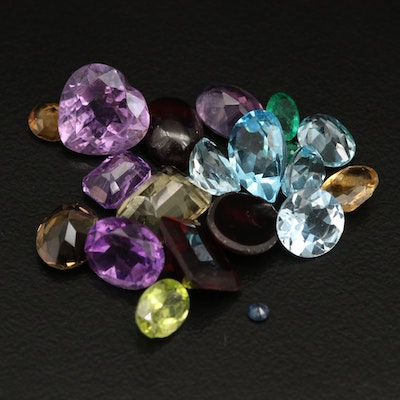 Loose Mixed Gemstones with Swiss Blue Topaz, Garnet and Citrine