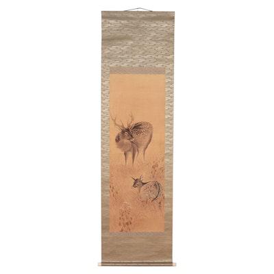 Japanese Watercolor Painting of Deer