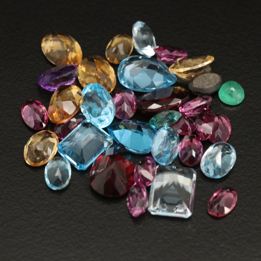 Loose Mixed Gemstones with Swiss Blue Topaz, Citrine and Garnet