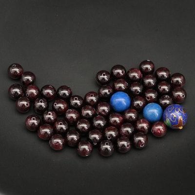 Loose Mixed Gemstones with Garnet, Lapis Lazuli and Cloisonné Enamel Beads