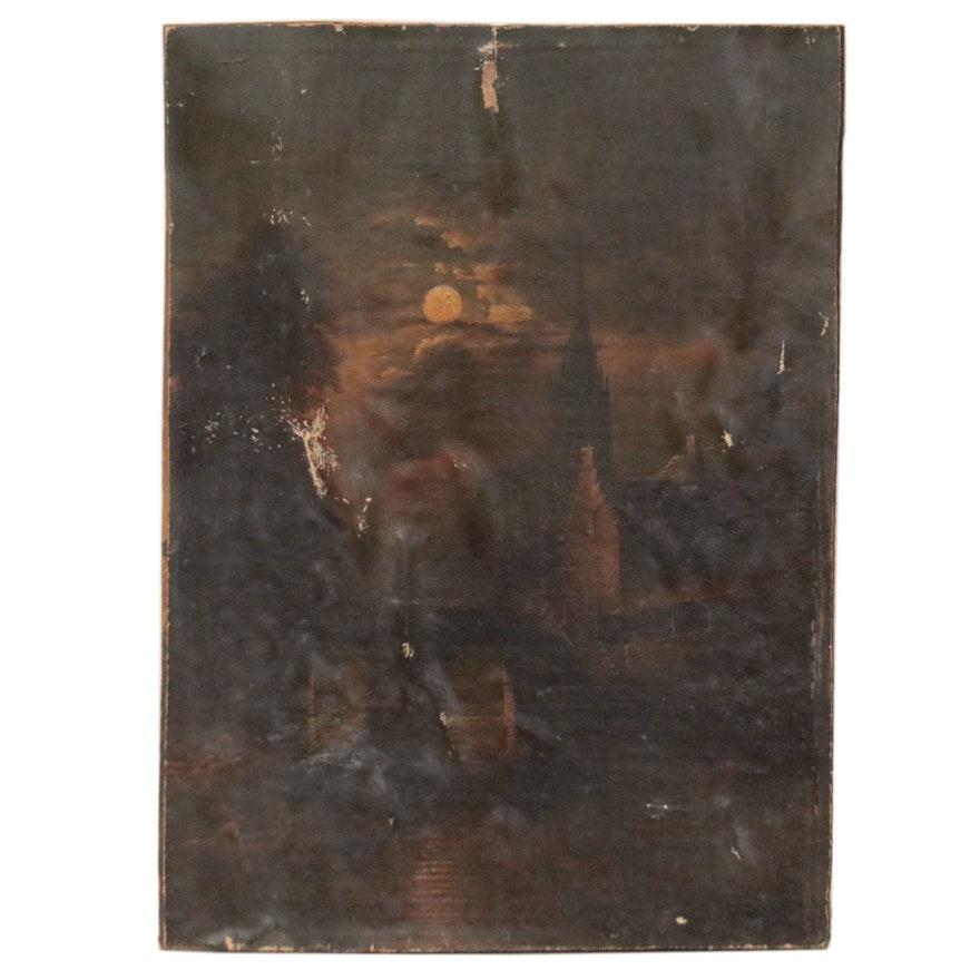 Nocturne Waterfront Castle Landscape Oil Painting