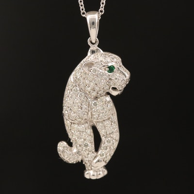 EFFY 14K 1.08 CTW Diamond and Emerald Panther Pendant Necklace