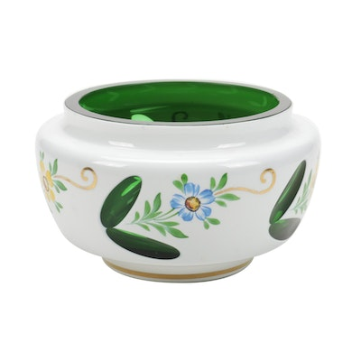 Bohemian Style White Cased Glass Cut to Green Vanity Jar