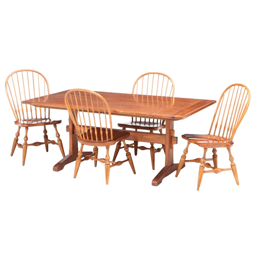 Ethan Allen Colonial Style Pine and Maple Five-Piece Trestle Table Dining Set