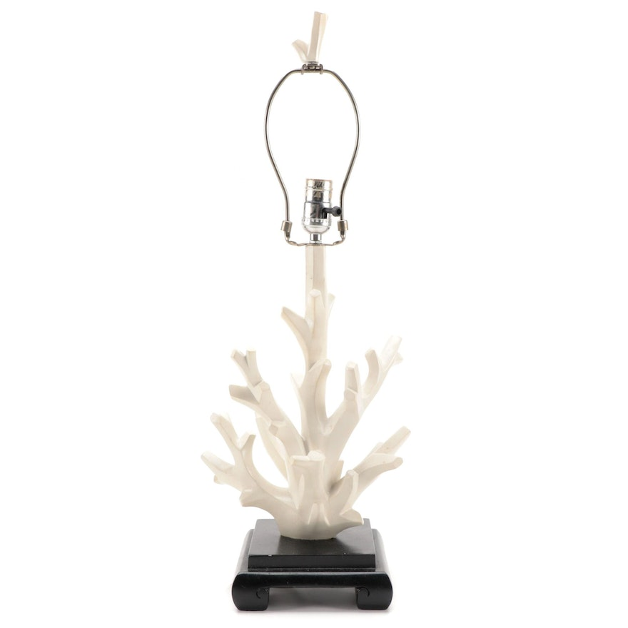 Painted Wooden Coral Table Lamp
