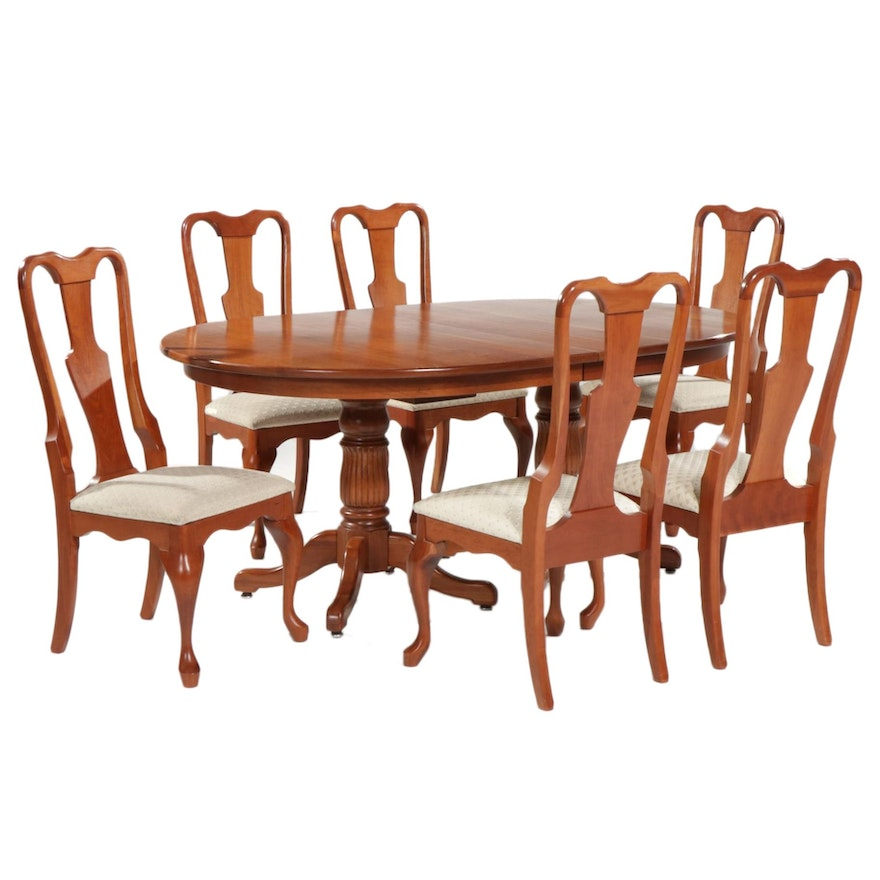 Berlin Woodworking Cherry Pedestal Dining Table and Six Queen Anne Style Chairs