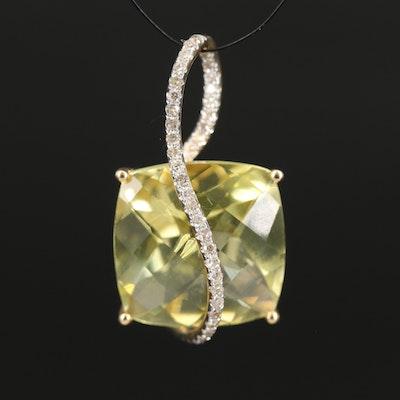 14K 12.99 CT Lemon Quartz and Diamond Pendant