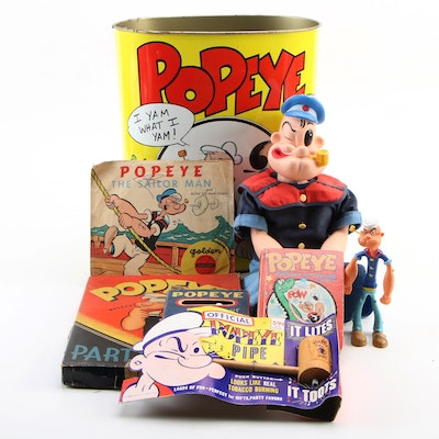 """King Features Syndicate """"Popeye"""" Dolls, Games, Waste Can, and Pipe, Mid-20th C."""