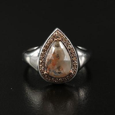 Sterling Silver 2.24 CTW Diamond Teardrop Halo Ring