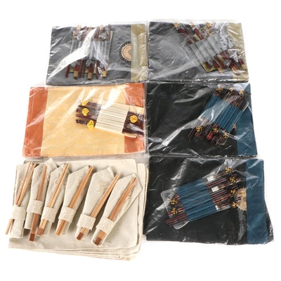 Chinese Silk Embroidered Placemats and Matching Chopstick Sets