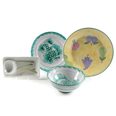 Caleca and Other Hand Painted Italian Pottery Chargers, Bowl and Asparagus Dish